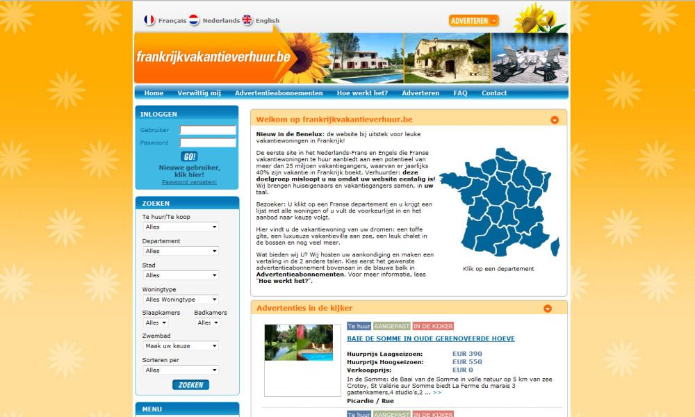 Website Frankrijkvakantieverhuur